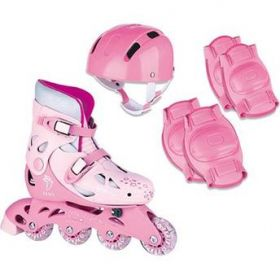 PATINS IN-LINE AJUSTAVEL COM ACES.ROSA 30/33